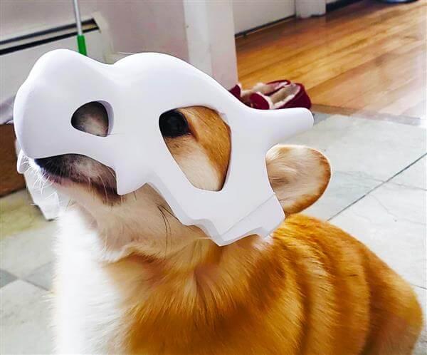 3d printed cubone corgi mask for dog