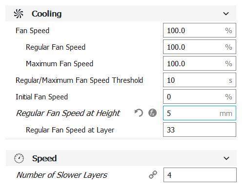 cura software fan speed