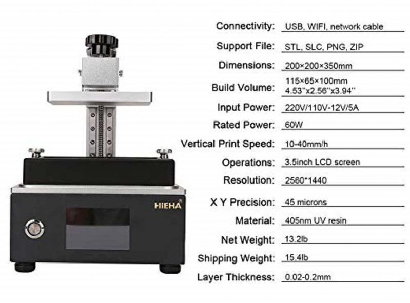 HIEHA SQ1 3D printer Specifications