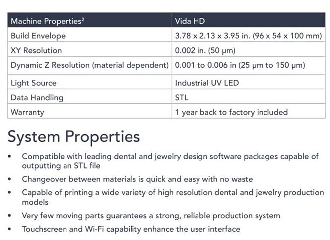 Vida Crown & Bridge 3D Printer specifications