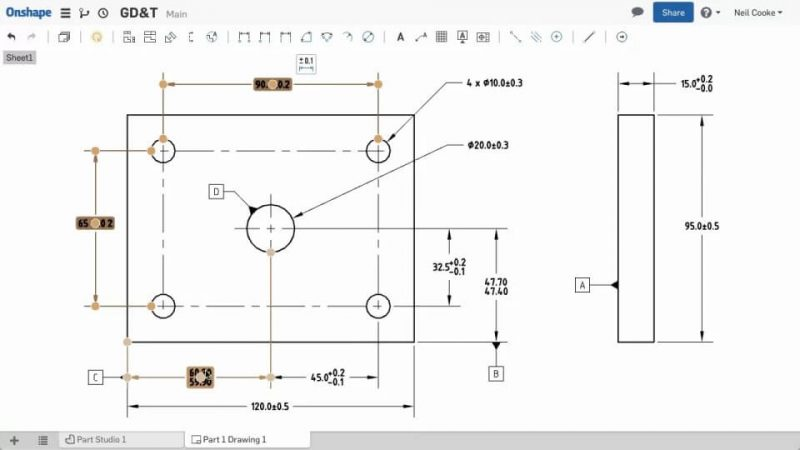 Onshape add leaders to geometric dimensioning and tolerancing (GD&T)
