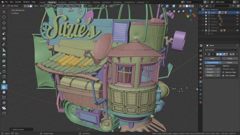 Blender CAD software Modeling