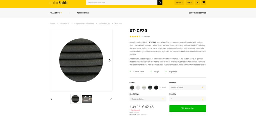 carbon fiber filament colorfabb