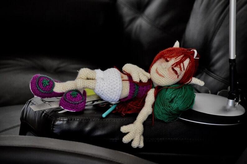 Crocheted skeleton doll
