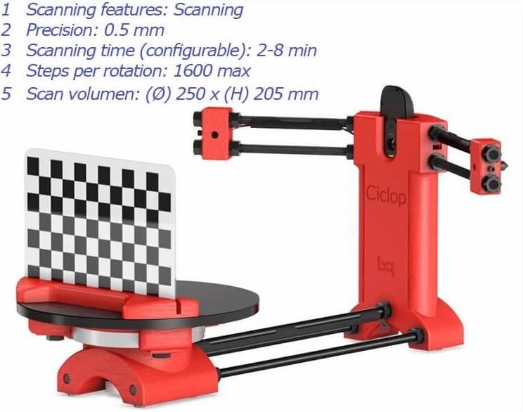 BQ Ciclop 3D Scanner specs