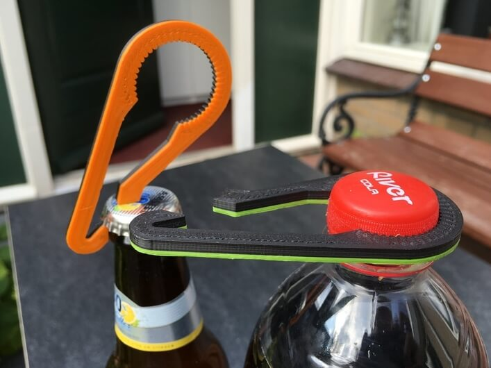 The 3-D printed bottle opener with a 2-in-1